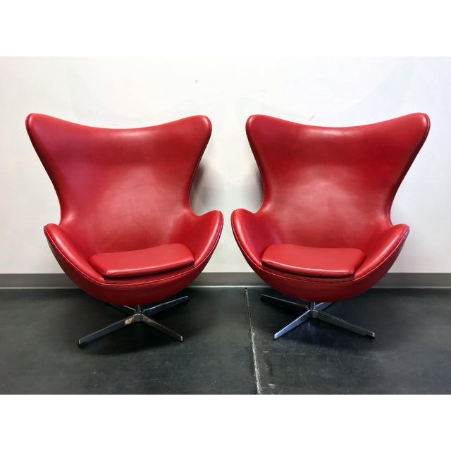 Jacobsen Egg Chair Replica In Red Leather Pair Chairish