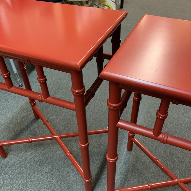 Asian Mid-20th Century Red Faux Bamboo Accent Tables- a Pair For Sale - Image 3 of 8