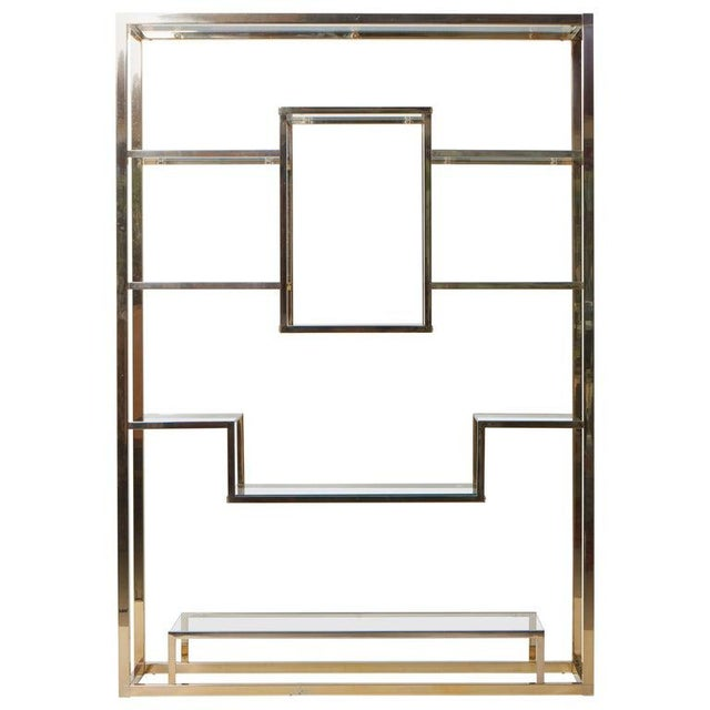 Very Huge Brass and Tinted Glass Bookshelf or Étagère by Romeo Rega For Sale - Image 6 of 6