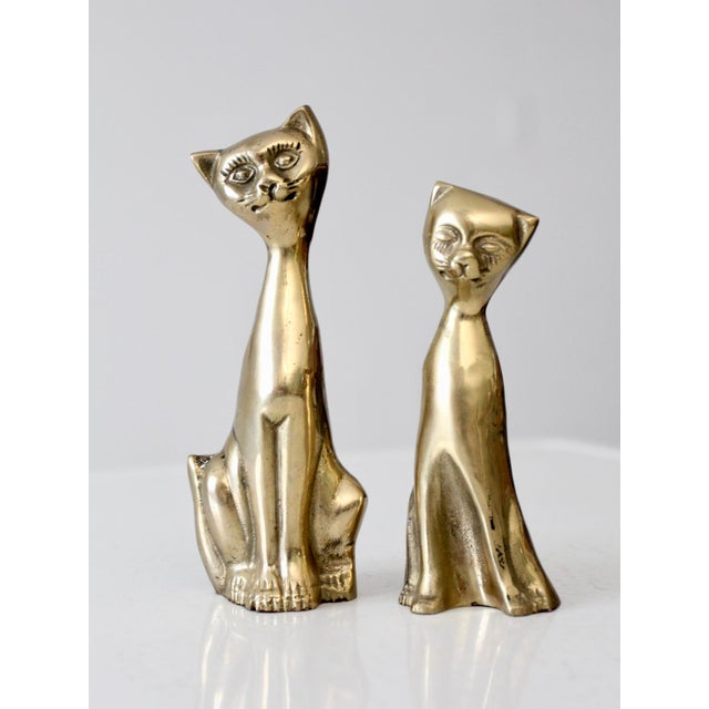 Mid-Century Brass Cat Figurines - A Pair For Sale - Image 6 of 6