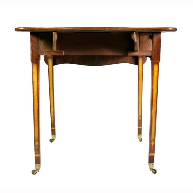 Tan George III Satinwood and Mahogany Pembroke Table For Sale - Image 8 of 10