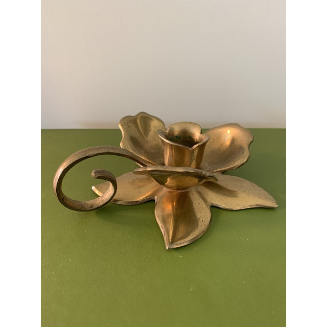 Mid-Century Modern Modernist Brass Floral Candlestick Holder With Handle For Sale - Image 3 of 6
