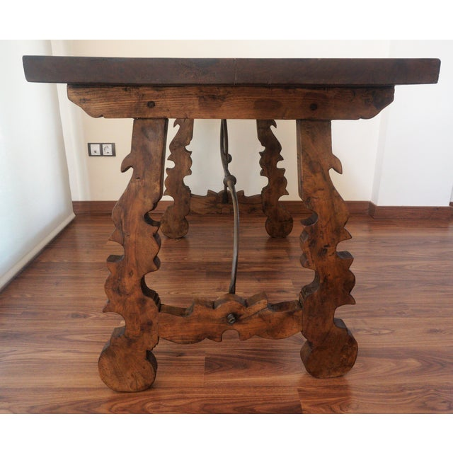 18th Century Refectory Spanish Table with Lyre Legs For Sale - Image 5 of 8