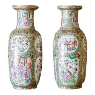 Mid 19th Century Rose Mandarin Vases - a Pair For Sale