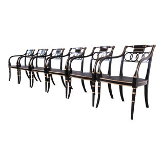 Baker Furniture Ebonized and Gold Gilt Regency Style Armchairs - Set of Six For Sale