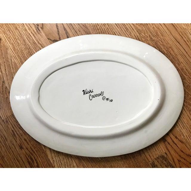 "Vicki Carroll Studio ""Bon Appetite"" Oval Serving Platter For Sale - Image 4 of 6"