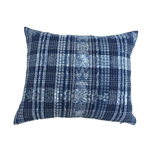 Indigo Blue & White Ikat Pillows - a Pair For Sale - Image 4 of 6