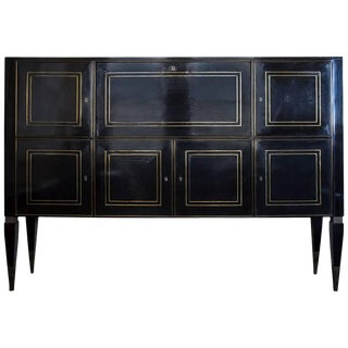 Italian Ebonized Bronze-Inlaid Cabinet on Tapered For Sale