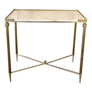 Mid-Century Brass Console ~ End Table With Carrara Marble For Sale
