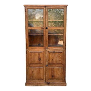 19th Century Large Cupboard or Bookcase With Glass Vitrine, Pine, Spain Restored For Sale