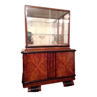 Art Deco Ebonized Walnut Vitrine