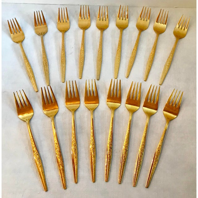 "Beautiful Set Of Gold Wash Dessert Forks In The ""Golden Bouquet"" Pattern."