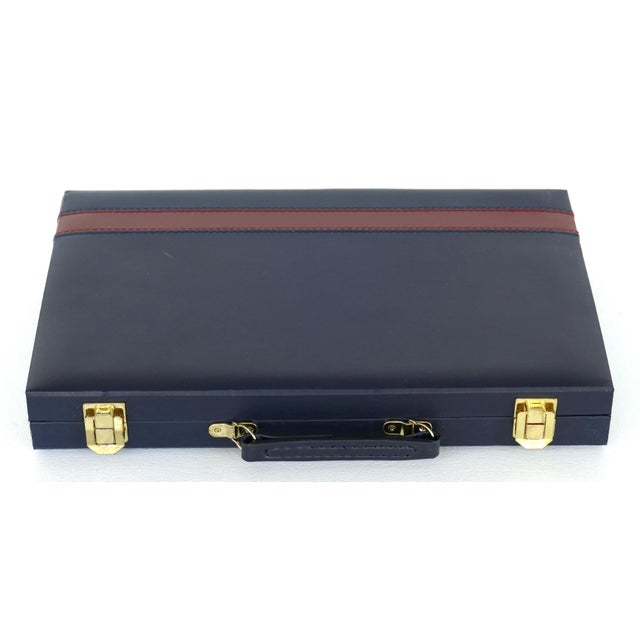 Late 20th Century Vintage Backgammon Set W/ Leatherette Case For Sale - Image 5 of 6