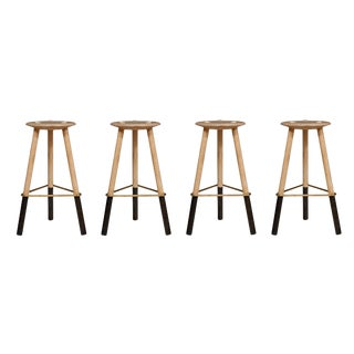 Set of 4 Erickson Aesthetics Solid Ash Tripod Stools For Sale