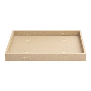 Faux Skin Shagreen Natural Bathroom Tray For Sale