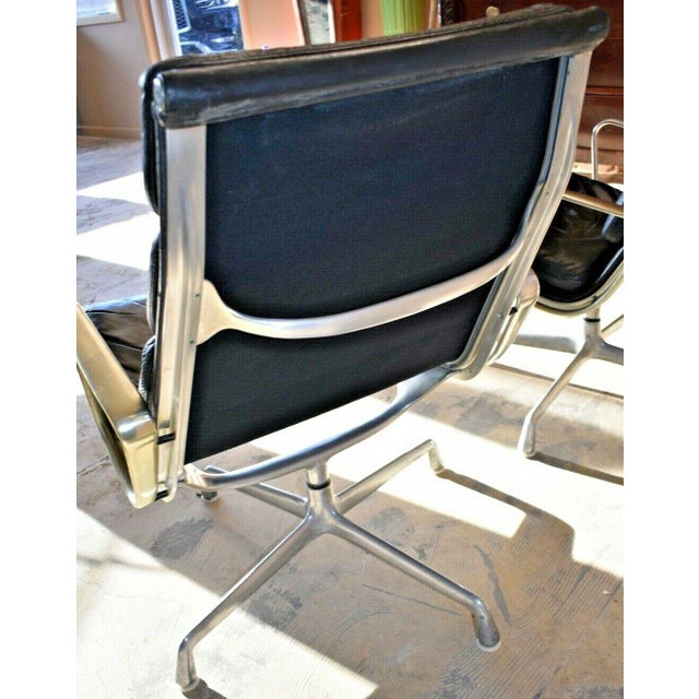Mid Century Eames Herman Miller Lounge Chairs Black Leather- A Pair For Sale - Image 9 of 13