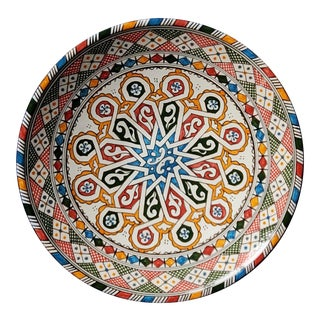 Moroccan Multi-Color Hand Painted Pottery Plate For Sale