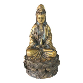 1920s Antique Quan Yin Chinese Buddhist Brass Sculpture For Sale