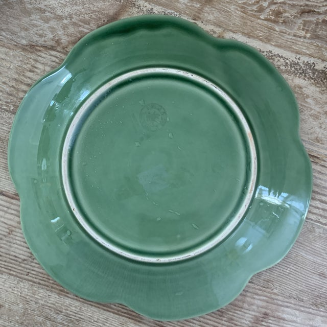 Ceramic Bordallo Pinheiro Yellow and Green Ceramic Cabbage Plates - Set of 6 For Sale - Image 7 of 9