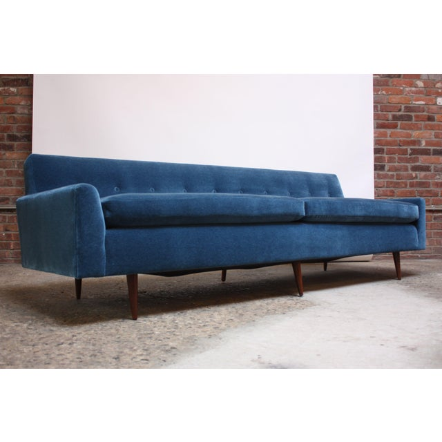 Milo Baughman for Thayer Coggin sofa newly reupholstered in luxurious blue mohair with brand new foam. Tufting / scale of...