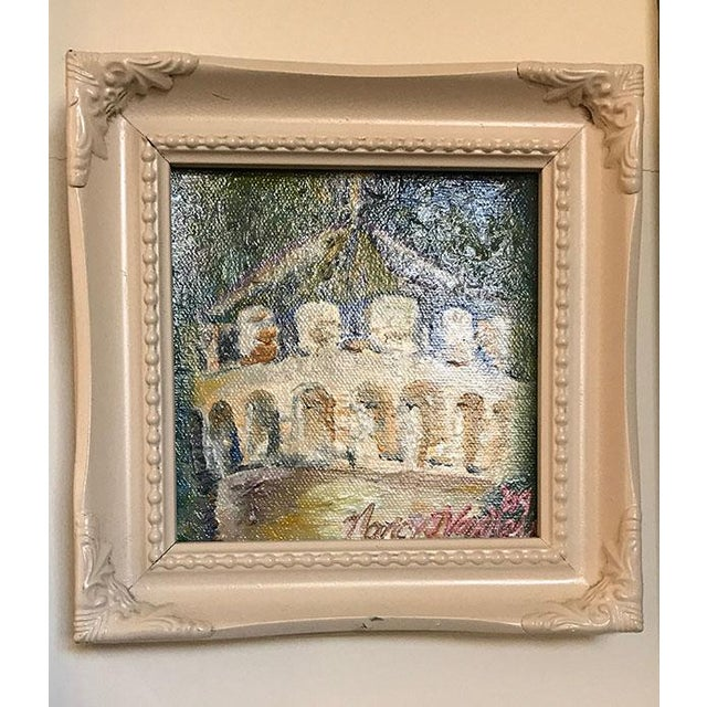 "Original ""Castle Turret"" Framed Oil Painting by Nancy T. Van Ness For Sale - Image 9 of 13"
