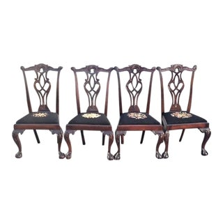 Early 20th Century Vintage Mahogany Chippendale Style Chairs- Set of 4 For Sale