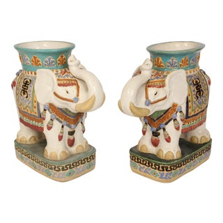 Pair of Polychrome Decorated Stoneware Elephant Form Planters For Sale