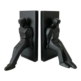 Chris Collicott Pushing Men Bookends - a Pair For Sale