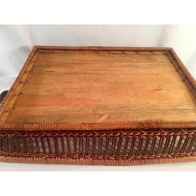 Mid-Century Rattan & Wood Leather-Handled Serving Tray For Sale - Image 11 of 13