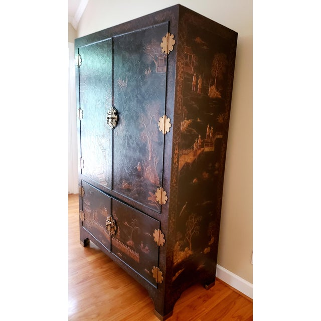 Chinoiserie Maitland Smith Chinoiserie Entertainment Cabinet For Sale - Image 3 of 12