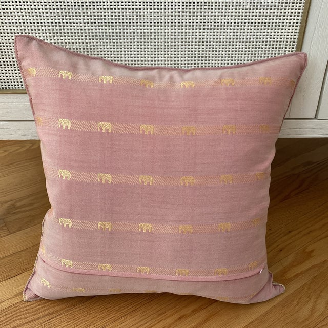 Silk Contemporary Pink Thai Silk Pillow With Elephant Motifs For Sale - Image 7 of 11