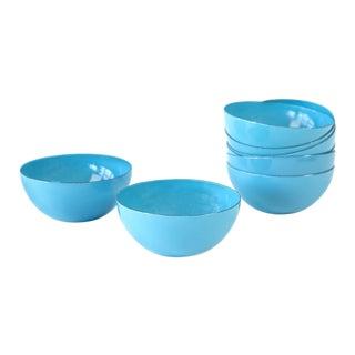 Cathrineholm Blue Enamel Bowls - Set of 8 For Sale