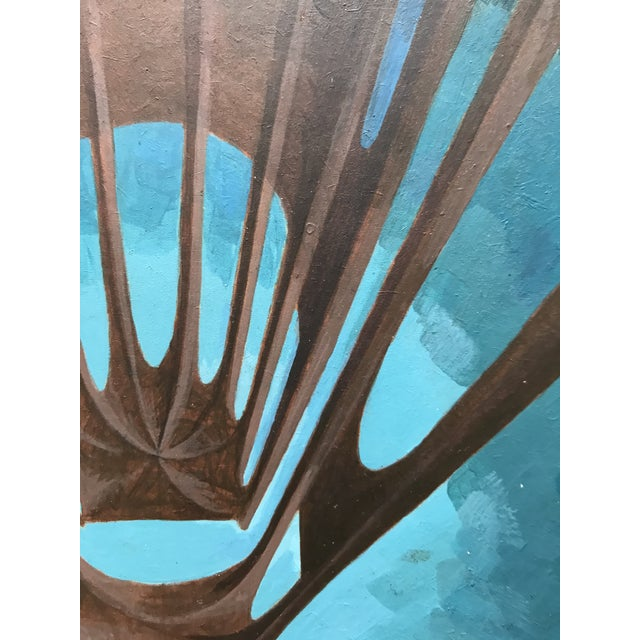 Blue 1970s Futuristic Study Acrylic on Board For Sale - Image 8 of 9