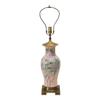 Chinoiserie Lamp Pink Ginger Jar Botanical For Sale