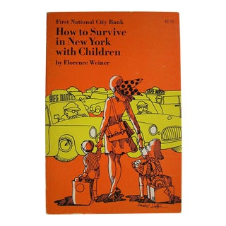 """Vintage 1960s """"How to Survive New York With Children"""" Orange and Yellow Psychedelic Book"""
