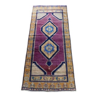 1990s Vintage Persian Purple & Yellow Area Rug - 3′4″ × 7′4″ For Sale