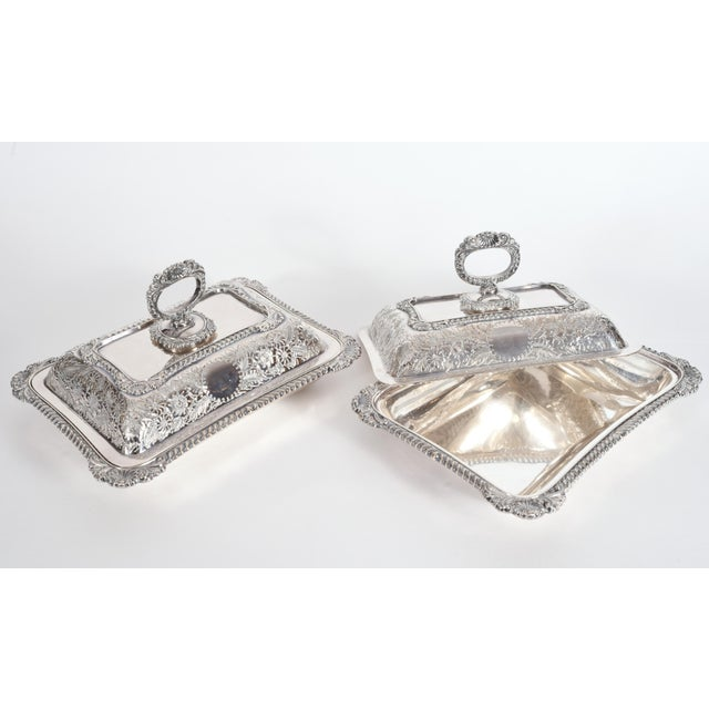Silver English Silver Plated Tableware Serving Dishes (2 Available) For Sale - Image 8 of 12