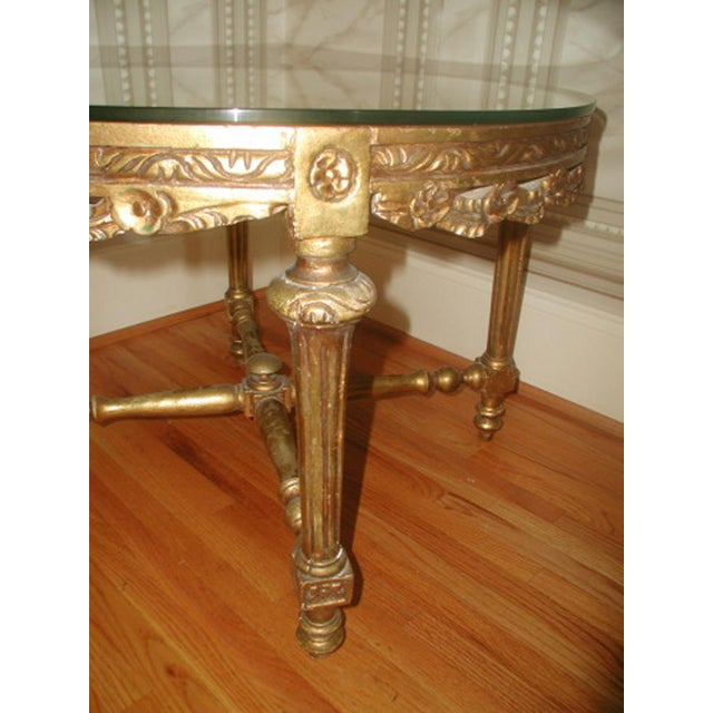 French 19th C. Hand Carved Gilt Coffee Table - Image 5 of 10