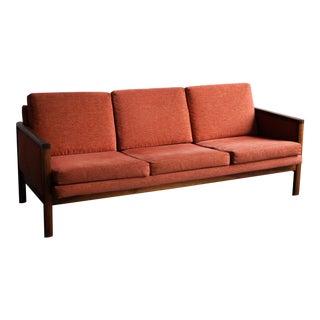 Vintage Mid-Century Burnt Orange Sofa With Walnut Frame For Sale