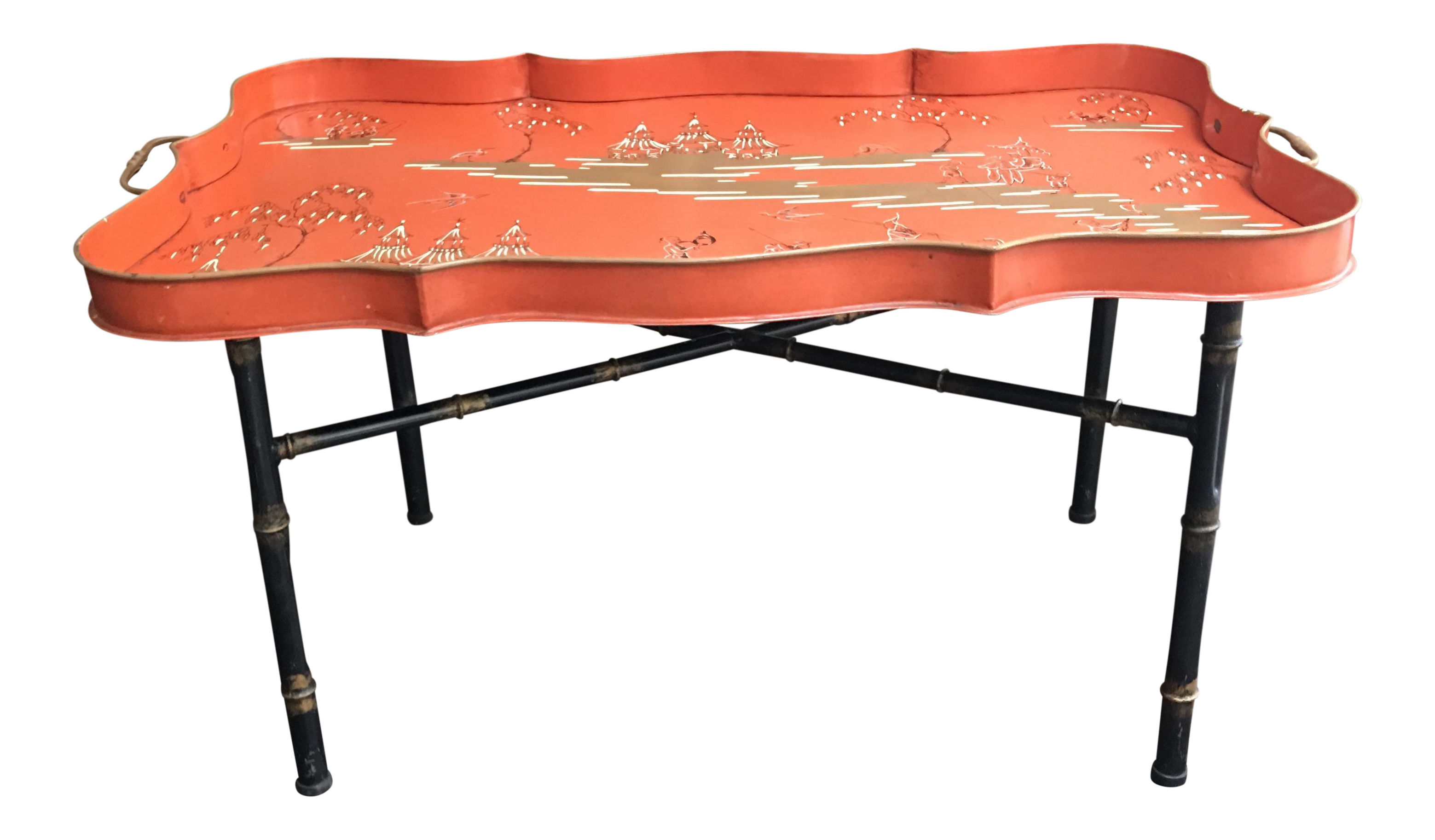 Mid Century Mottahedeh Italian Tole Chinoiserie Faux Bamboo Tray Table