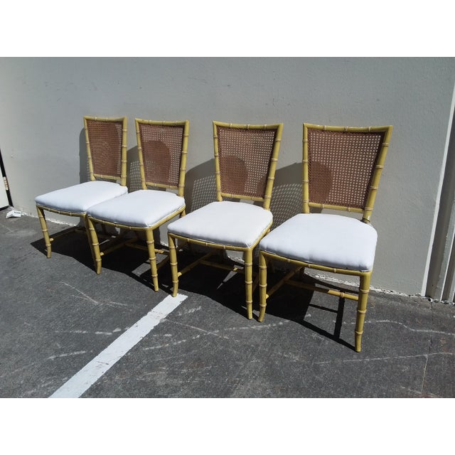 Yellow Set of Four Mid Century Modern Faux Bamboo Side Chairs For Sale - Image 8 of 10