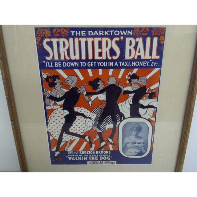 Mid-Century Modern The Darktown Shutter's Ball Framed Sheet Music For Sale - Image 3 of 6