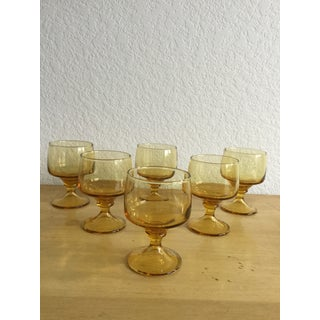 Vintage Mid Century Amber Dessert or Cocktail Glassware Preview