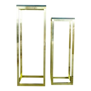 Mid Century Modern Mastercraft Brass and Glass Pedestal Tables - a Pair For Sale