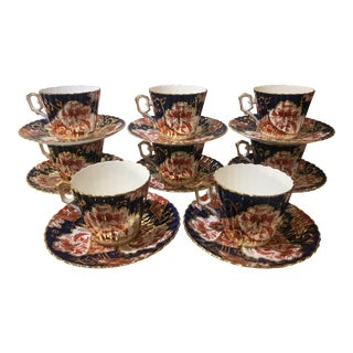 Antique Early 19c English Imari Tea Cup - Service for 8 For Sale