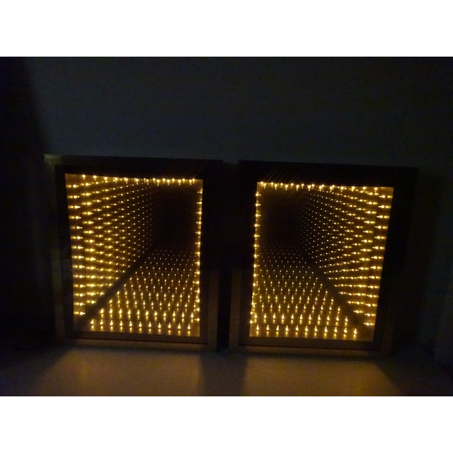 Vintage Brass & Burl Wood Infinity Mirrors - a Pair - Image 6 of 10