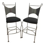 Image of Vintage Mid Century Arthur Umanoff Wrought Iron Bar Stools- A Pair For Sale