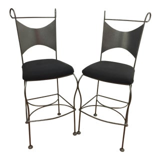 Vintage Mid Century Arthur Umanoff Wrought Iron Bar Stools- A Pair For Sale