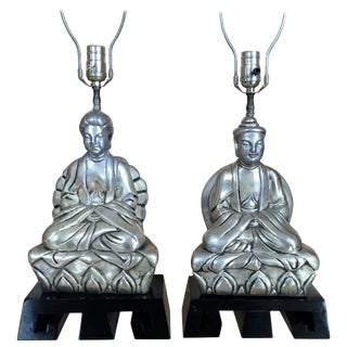 1950s Chinese Figural Table Lamps - a Pair For Sale
