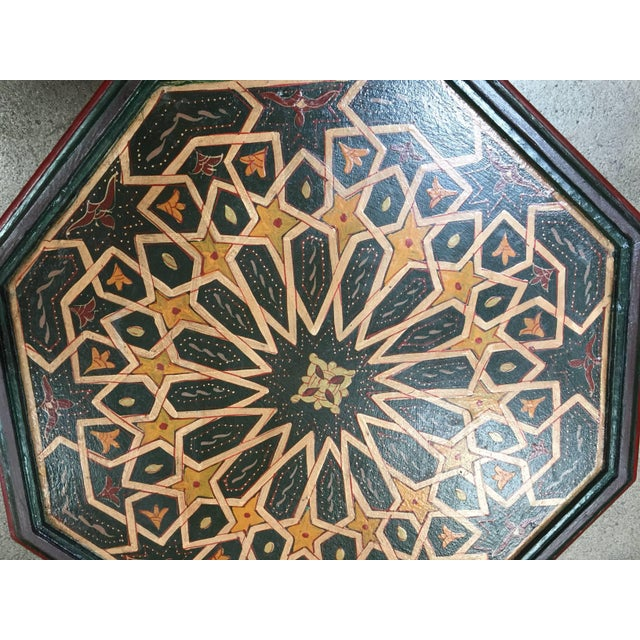 Moroccan Hand-Painted Dark Green Octagonal Side Table For Sale In Los Angeles - Image 6 of 10